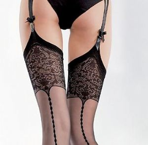 20 Denier Lace Top Seamed Stockings